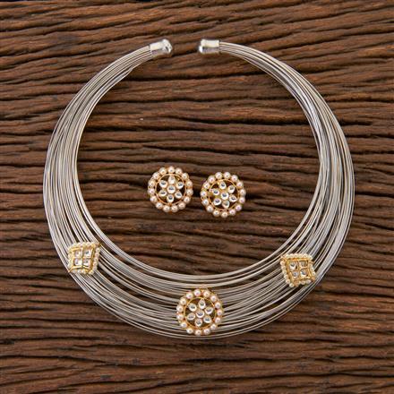 350411 Designer Classic Necklace With Matte Rhodium Plating