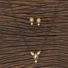 350424 Kundan Classic Mangalsutra With Gold Plating