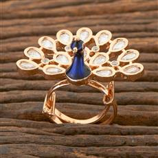 350429 Kundan Peacock Ring With Gold Plating