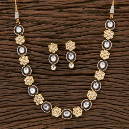 350433 Kundan Classic Necklace With Black Plating