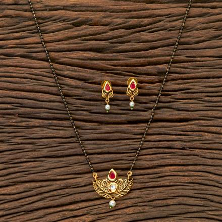 350453 Kundan Classic Mangalsutra With Gold Plating