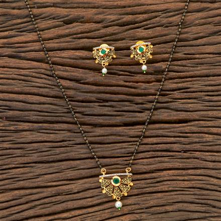 350457 Kundan Classic Mangalsutra With Gold Plating