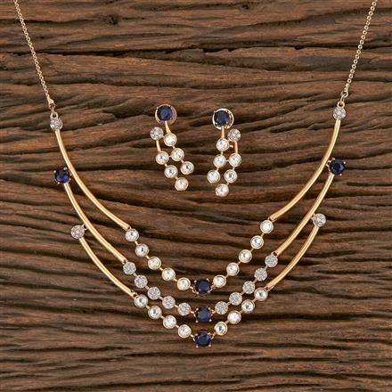 350465 Kundan Classic Necklace With Rose Gold Plating