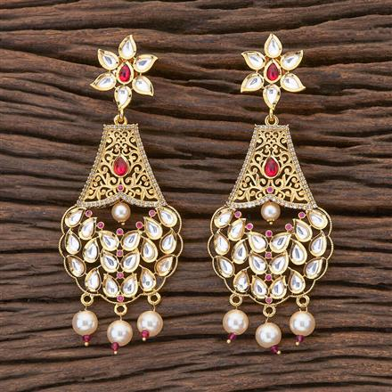 350470 Kundan Long Earring with gold plating