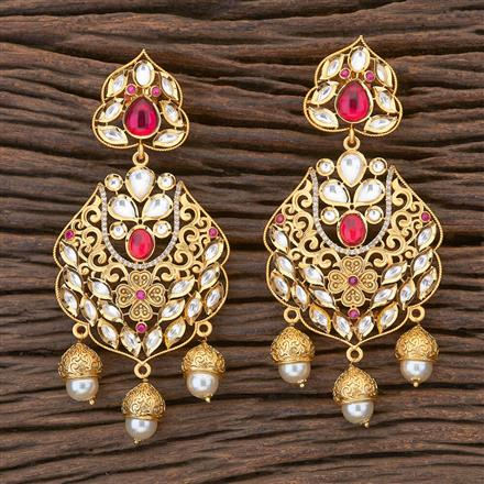 350471 Kundan Classic Earring with gold plating