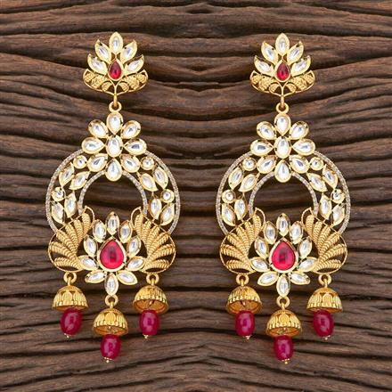 350472 Kundan Long Earring with gold plating