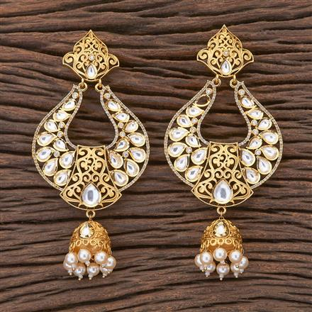 350473 Kundan Long Earring with gold plating