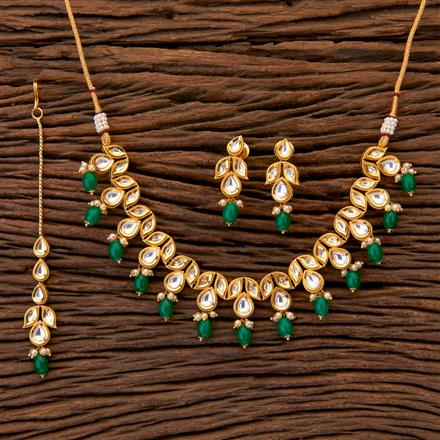 350474 Kundan Classic Necklace with gold plating
