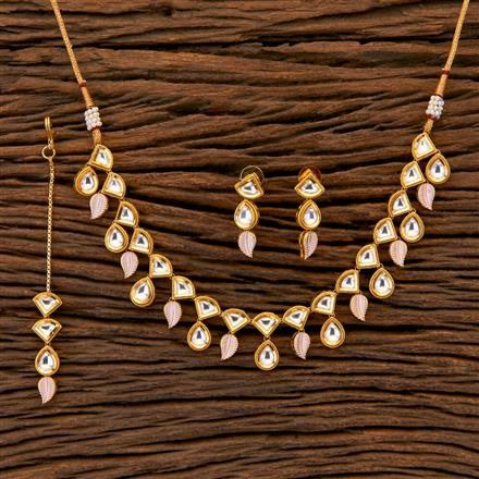 350475 Kundan Classic Necklace with gold plating