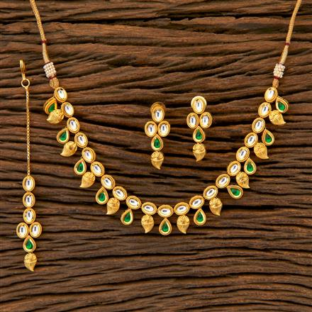 350480 Kundan Classic Necklace with gold plating