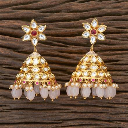 350482 Kundan Jhumkis with gold plating