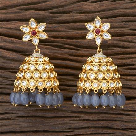 350483 Kundan Jhumkis with gold plating