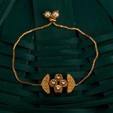 350491 Kundan Adjustable Bracelet With Gold Plating