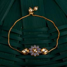 350492 Kundan Adjustable Bracelet With Gold Plating