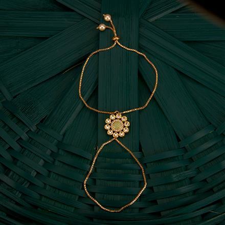 350495 Kundan Classic Hath Pan With Gold Plating