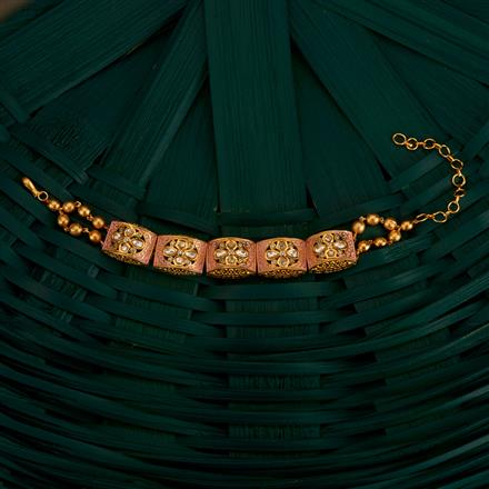350501 Kundan Classic Bracelet With Gold Plating
