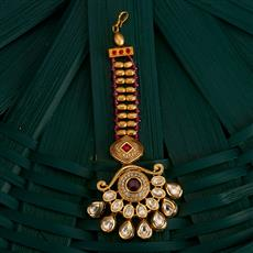 350504 Kundan Classic Tikka With Gold Plating