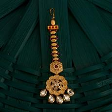350505 Kundan Classic Tikka With Gold Plating