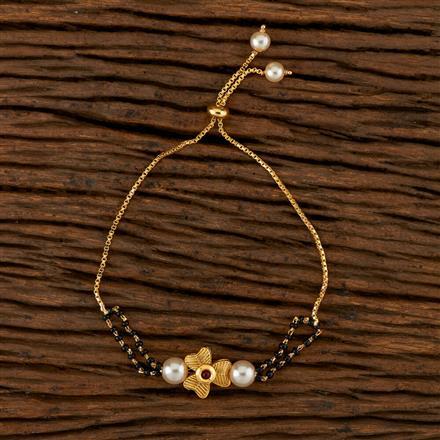 350518 Kundan Adjustable Bracelet With Gold Plating