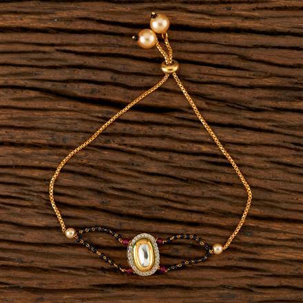 350520 Kundan Adjustable Bracelet With Gold Plating