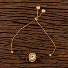 350521 Kundan Adjustable Bracelet With Gold Plating