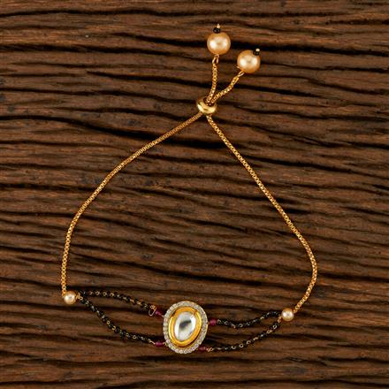 350521 Kundan Adjustable Bracelet With Gold Plating
