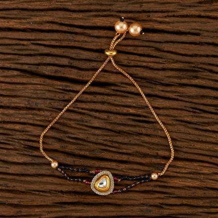 350522 Kundan Adjustable Bracelet With Gold Plating