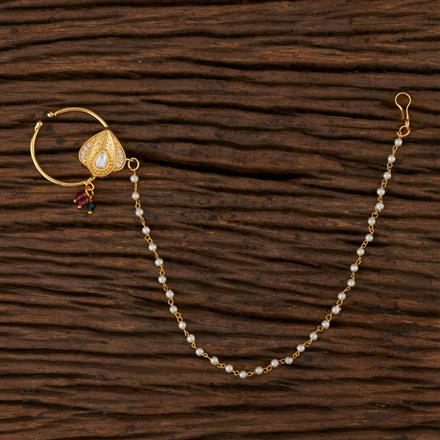 350525 Kundan Classic Nose Ring with Gold Plating
