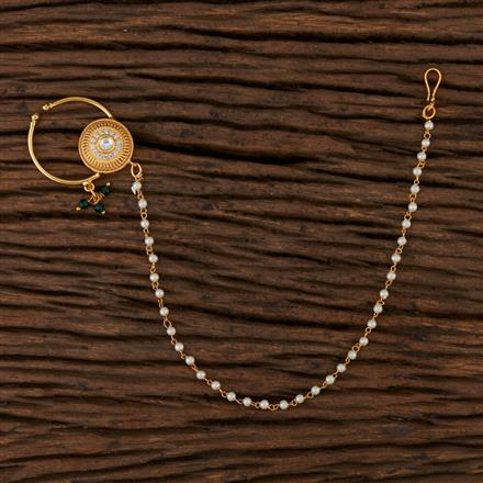 350526 Kundan Classic Nose Ring with Gold Plating