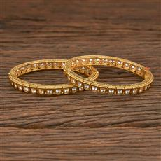 350532 Kundan Classic Bangles With Gold Plating