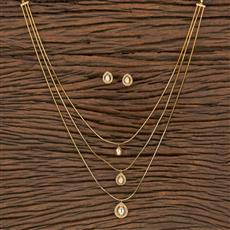 350537 Kundan Classic Pendant Set With Gold Plating