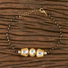 350545 Kundan Classic Bracelet With Gold Plating