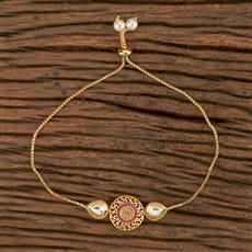 350546 Kundan Adjustable Bracelet With Gold Plating