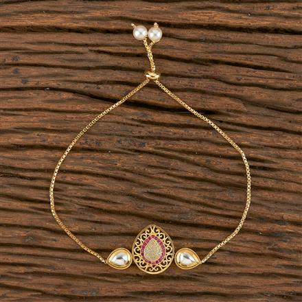 350547 Kundan Adjustable Bracelet With Gold Plating