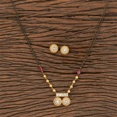 350563 Kundan Classic Mangalsutra With Gold Plating