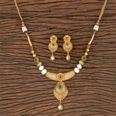 350570 Kundan Classic Necklace With Matte Gold Plating