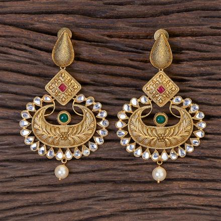 350571 Kundan Classic Earring With Matte Gold Plating