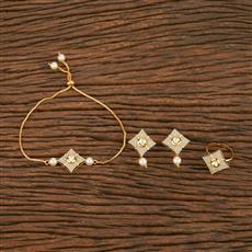 350572 Kundan Combo Earring Set With Gold Plating