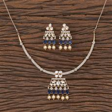 350574 Kundan Classic Necklace With Rose Gold Plating