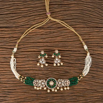 350576 Kundan Classic Necklace With Rose Gold Plating