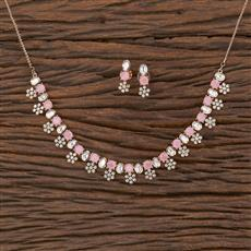 350577 Kundan Classic Necklace With Rose Gold Plating