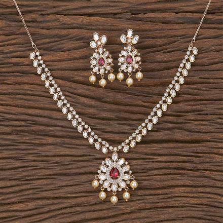 350578 Kundan Classic Necklace With Rose Gold Plating