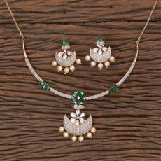 350579 Kundan Classic Necklace With Rose Gold Plating