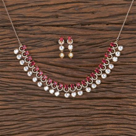 350580 Kundan Classic Necklace With Rose Gold Plating
