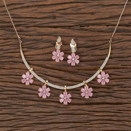 350581 Kundan Classic Necklace With Rose Gold Plating