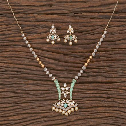 350582 Kundan Classic Necklace With Rose Gold Plating