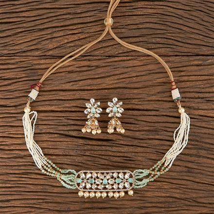 350583 Kundan Classic Necklace With Rose Gold Plating
