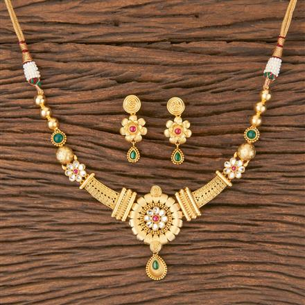 350584 Kundan Classic Necklace With Gold Plating