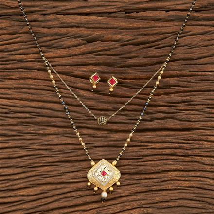 350585 Kundan Classic Mangalsutra With Gold Plating