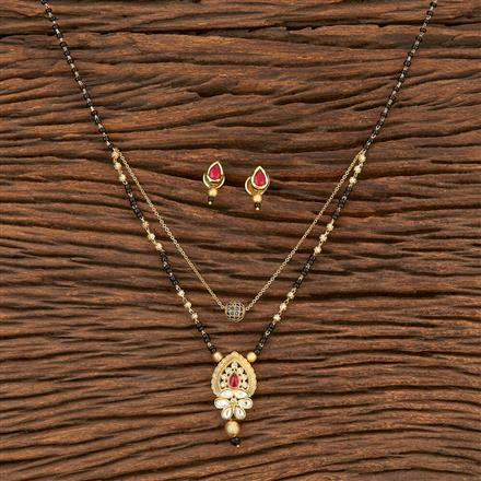 350587 Kundan Classic Mangalsutra With Gold Plating